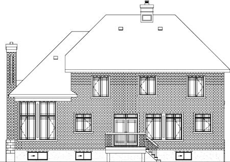 Colonial House Plan 49700 Rear Elevation