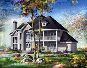 House Plan 49703 | European Style Plan with 4867 Sq Ft, 3 Bedrooms, 3 Bathrooms, 2 Car Garage Elevation