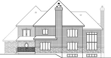European House Plan 49703 Rear Elevation
