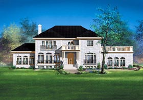 House Plan 49705 | Colonial Style Plan with 3840 Sq Ft, 4 Bedrooms, 3 Bathrooms, 2 Car Garage Elevation