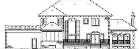 House Plan 49705 | Colonial Style Plan with 3840 Sq Ft, 4 Bedrooms, 3 Bathrooms, 2 Car Garage Rear Elevation