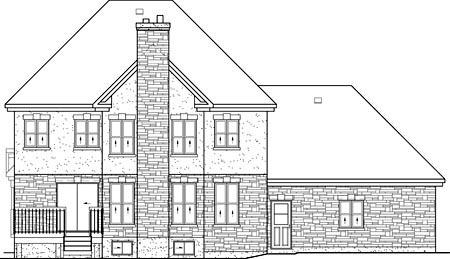 European House Plan 49706 Rear Elevation