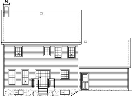Colonial House Plan 49707 Rear Elevation