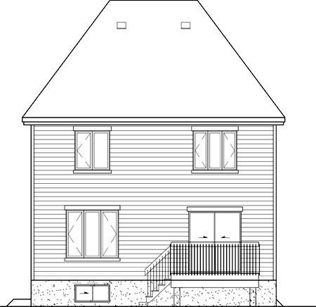 European House Plan 49708 Rear Elevation