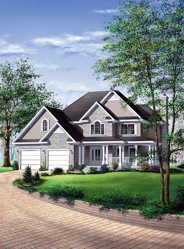 Country House Plan 49712 with 3 Beds, 3 Baths, 2 Car Garage Elevation
