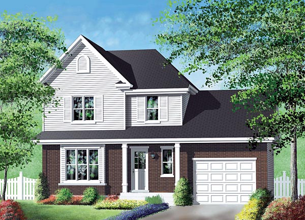 Narrow Lot, Traditional House Plan 49715 with 2 Beds, 2 Baths, 1 Car Garage Elevation