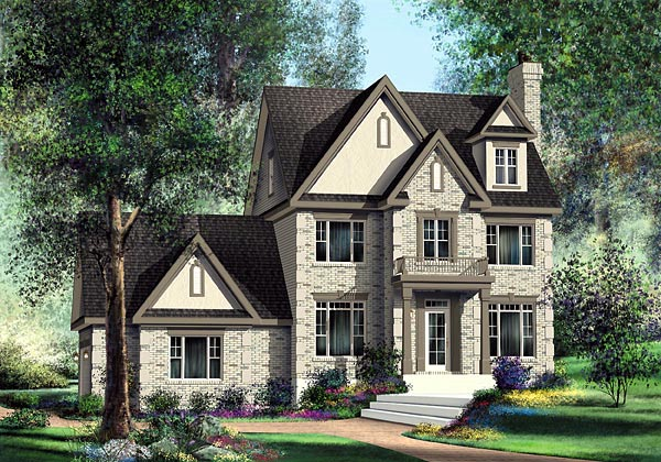 House Plan 49720 | Tudor Style Plan with 2616 Sq Ft, 3 Bedrooms, 3 Bathrooms, 2 Car Garage Elevation