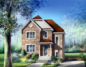 House Plan 49721 | European Style Plan with 1536 Sq Ft, 3 Bedrooms, 2 Bathrooms Elevation