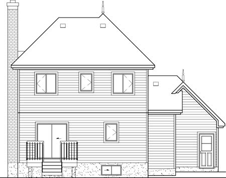 House Plan 49723 | Farmhouse Victorian Style Plan with 1671 Sq Ft, 3 Bedrooms, 3 Bathrooms, 1 Car Garage Rear Elevation