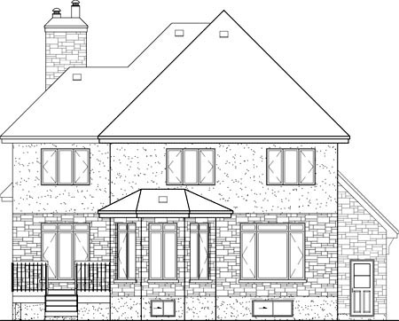 European House Plan 49727 Rear Elevation