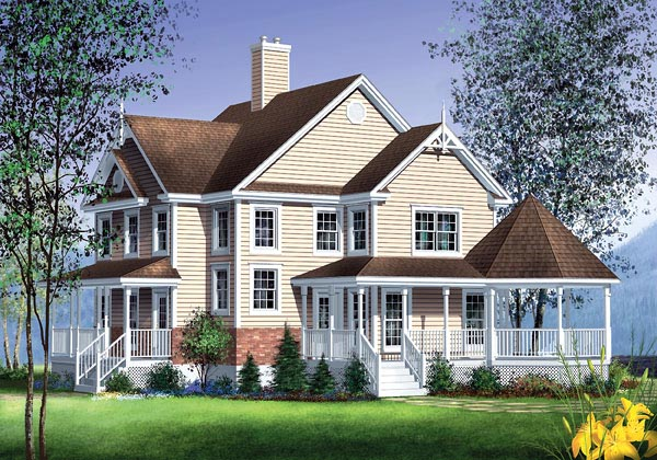 Farmhouse House Plan 49731 with 3 Beds, 3 Baths Elevation