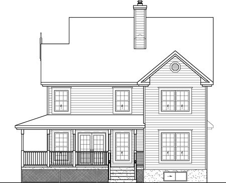 Country Narrow Lot Rear Elevation of Plan 49733