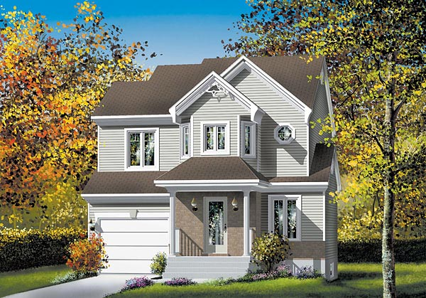 House Plan 49735 | Traditional Style Plan with 1401 Sq Ft, 3 Bedrooms, 2 Bathrooms, 1 Car Garage Elevation