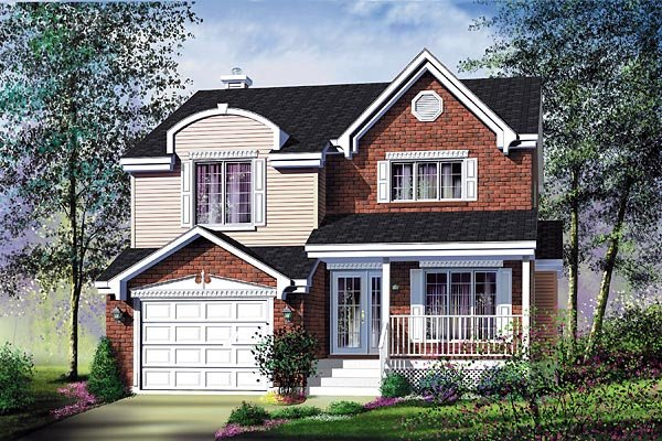 Traditional House Plan 49737 with 3 Beds, 2 Baths, 1 Car Garage Elevation