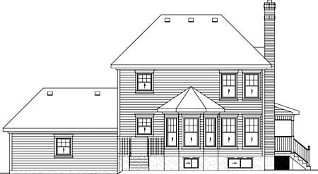 Southern House Plan 49738 with 3 Beds, 3 Baths, 2 Car Garage Rear Elevation