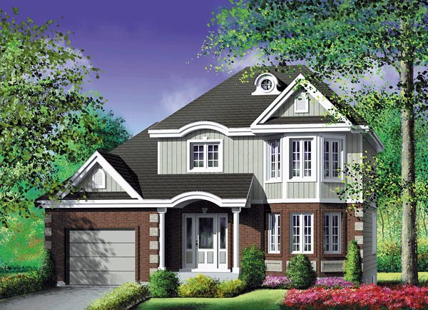 Narrow Lot , Traditional , Elevation of Plan 49740