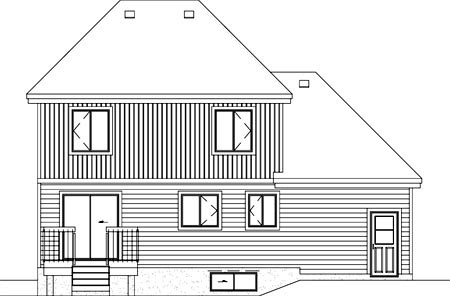 Narrow Lot , Traditional , Rear Elevation of Plan 49740