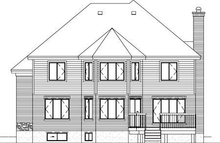 European House Plan 49741 Rear Elevation