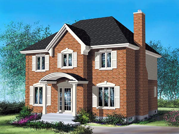 Colonial House Plan 49744 with 4 Beds, 3 Baths Elevation