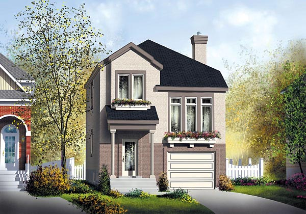 Colonial Narrow Lot Elevation of Plan 49746