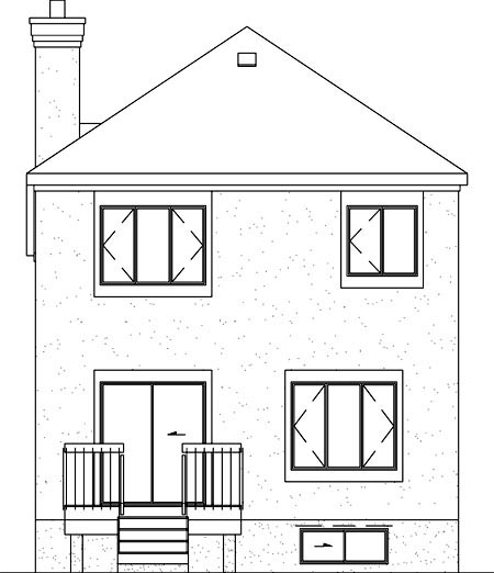 Colonial Narrow Lot Rear Elevation of Plan 49746