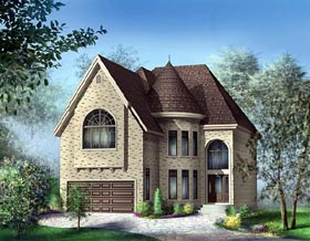 Victorian House Plan 49748 with 4 Beds, 3 Baths, 2 Car Garage Elevation