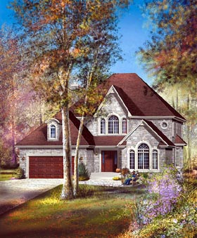European House Plan 49750 with 4 Beds, 3 Baths, 2 Car Garage Elevation