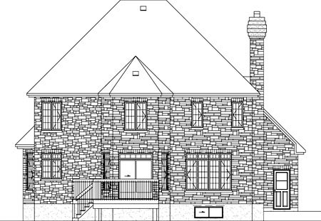 European House Plan 49750 with 4 Beds, 3 Baths, 2 Car Garage Rear Elevation