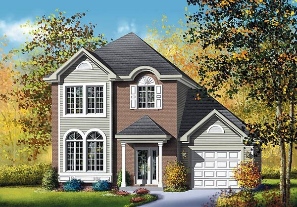 Colonial, Narrow Lot House Plan 49752 with 3 Beds, 2 Baths, 1 Car Garage Elevation