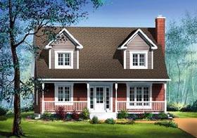 Cape Cod House Plan 49753 with 3 Beds, 2 Baths Elevation