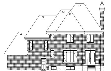 European House Plan 49755 Rear Elevation