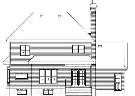 Traditional Rear Elevation of Plan 49756