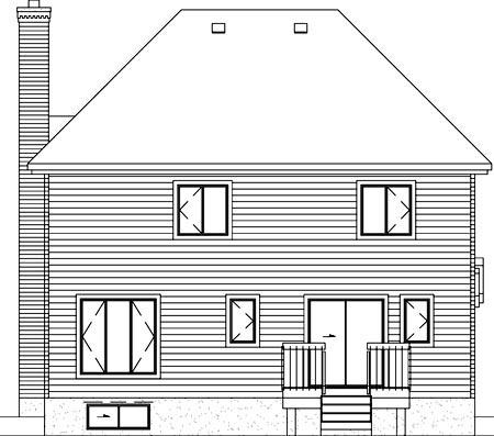 European House Plan 49757 Rear Elevation
