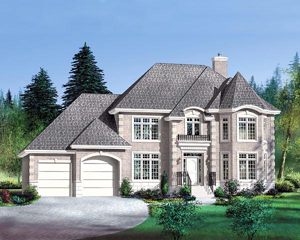 Victorian House Plan 49759 with 4 Beds, 3 Baths, 2 Car Garage Elevation