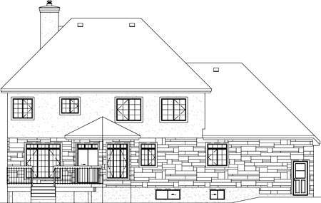 Victorian House Plan 49759 with 4 Beds , 3 Baths , 2 Car Garage Rear Elevation