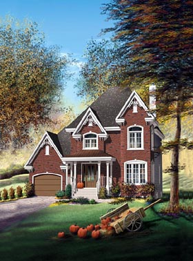 Victorian House Plan 49764 with 3 Beds, 2 Baths, 1 Car Garage Elevation