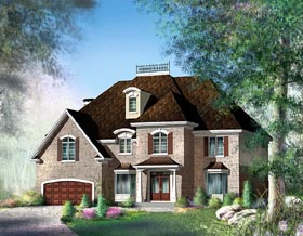 House Plan 49765 | European Style Plan with 4520 Sq Ft, 5 Bedrooms, 3 Bathrooms, 2 Car Garage Elevation