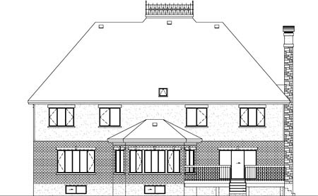 European House Plan 49765 Rear Elevation