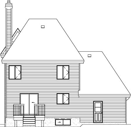 Victorian , Rear Elevation of Plan 49766