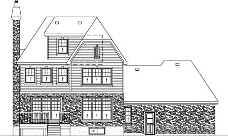 European Rear Elevation of Plan 49768