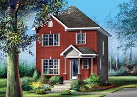 House Plan 49783 | Traditional Style Plan with 1152 Sq Ft, 3 Bedrooms, 2 Bathrooms Elevation