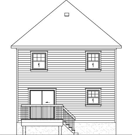 Narrow Lot, Victorian House Plan 49794 with 3 Beds, 2 Baths Rear Elevation