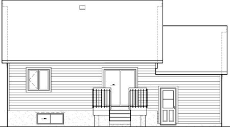 Rear Elevation of Plan 49797