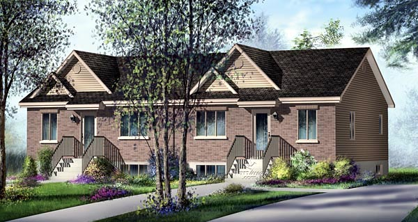 One-Story Multi-Family Plan 49801 with 4 Beds , 2 Baths Elevation