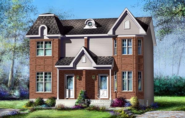 Multi-Family Plan 49802 Elevation