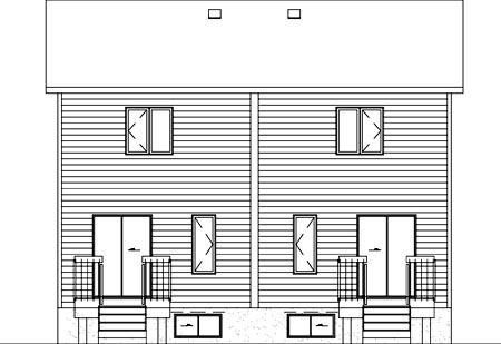 Multi-Family Plan 49802 Rear Elevation