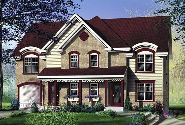 Multi-Family Plan 49803 | Style Plan with 2872 Sq Ft, 5 Bedrooms, 4 Bathrooms, 1 Car Garage Elevation