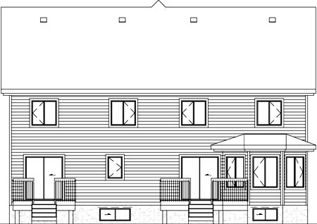 Multi-Family Plan 49803 | Style Plan with 2872 Sq Ft, 5 Bedrooms, 4 Bathrooms, 1 Car Garage Rear Elevation