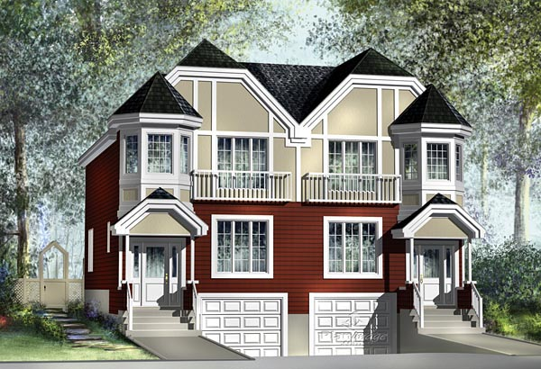 Multi-Family Plan 49804 Elevation