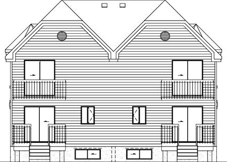 Multi-Family Plan 49804 Rear Elevation